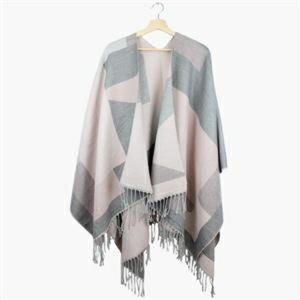 Luscious Soft Pink and Gray Fringed Wrap/ Poncho.